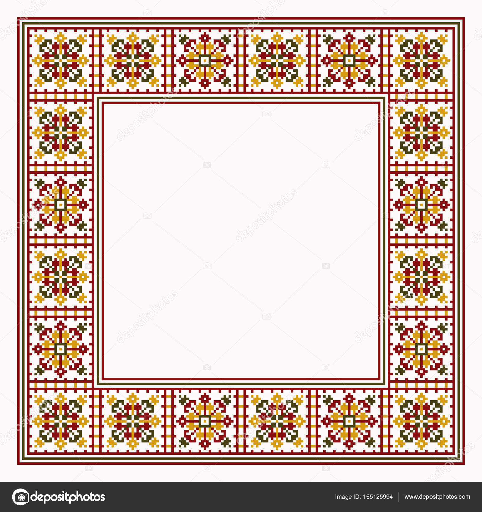 frame in cross stitch embroidery style — Stock Vector © Olizabet ...