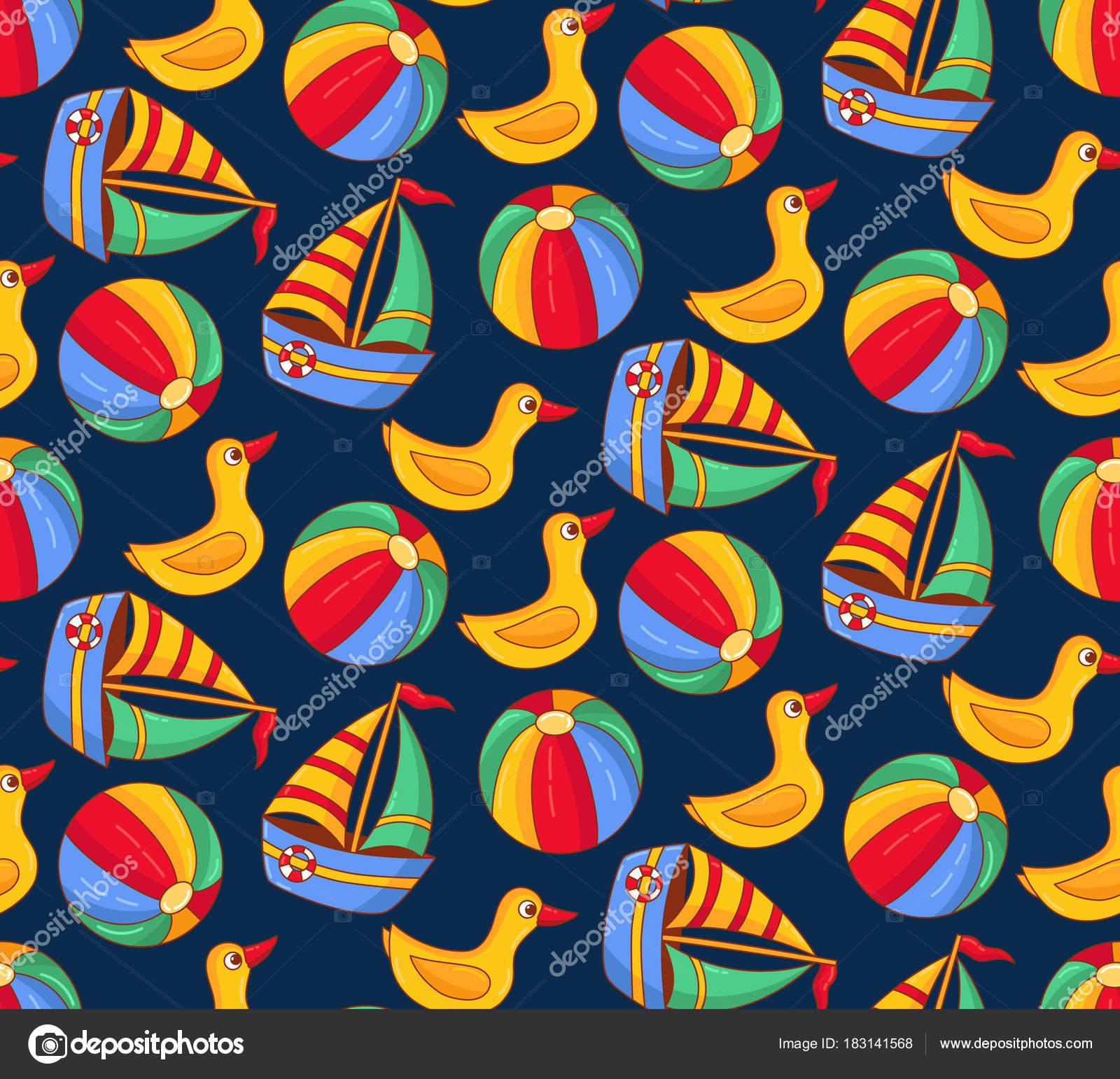 Bath toys duck boat ball seamless vector pattern — Stock Vector ...