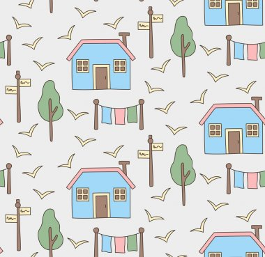Village house nordic style seamless vector pattern