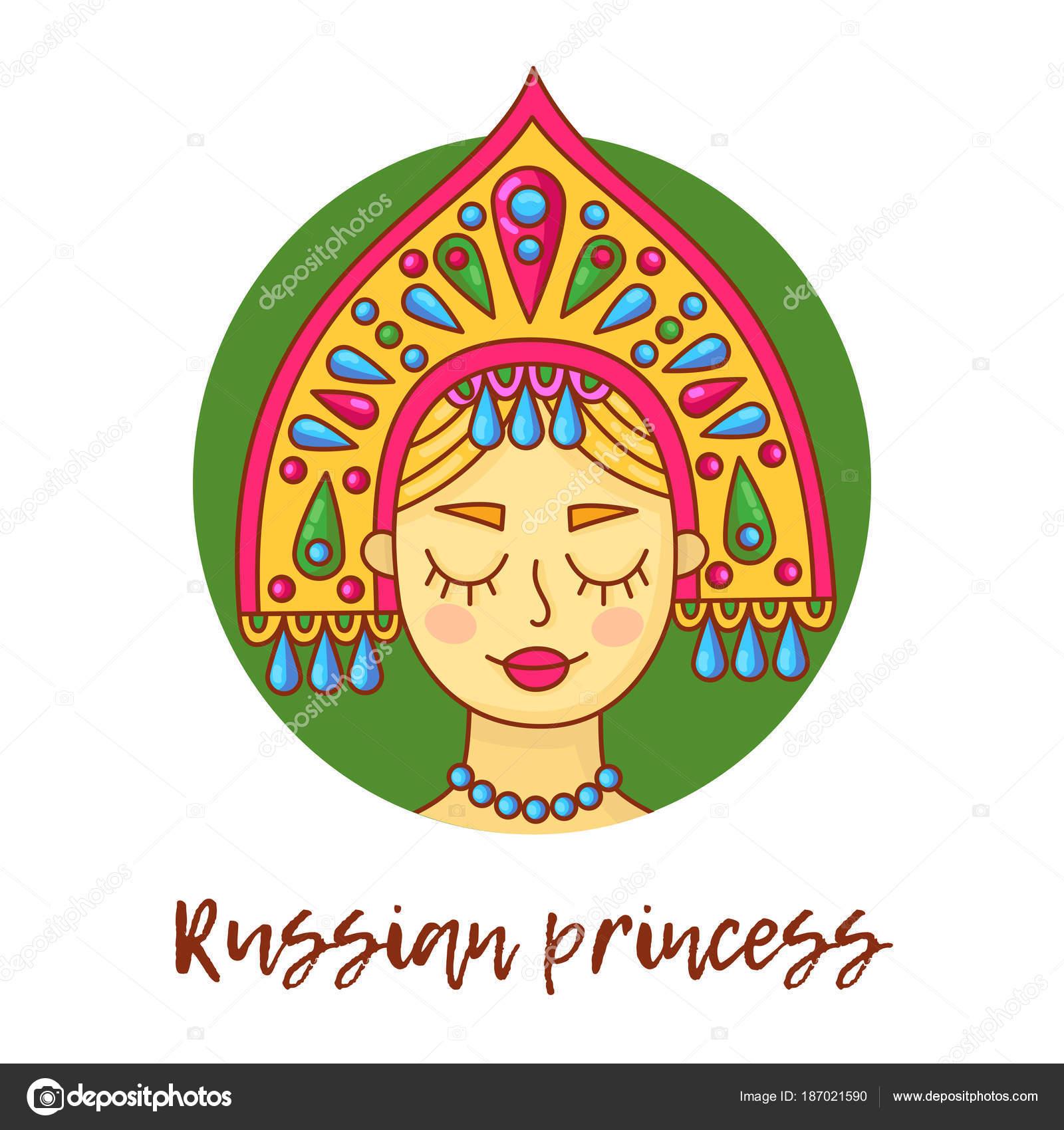 従来の頭の中のロシア人女性着用カラフルなベクトル イラスト肖像画