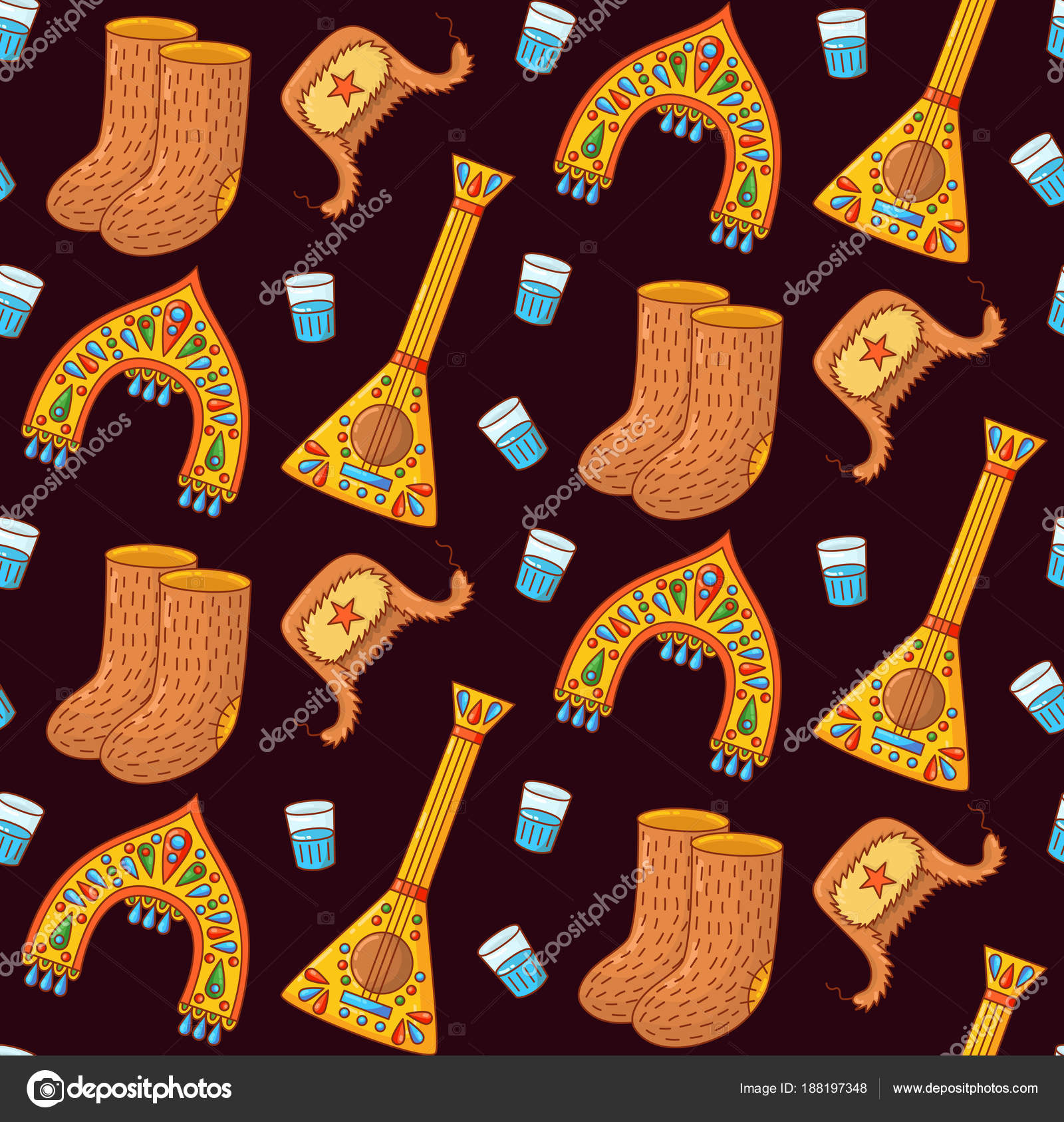 russian traditional symbols doodle seamless vector pattern stock vector