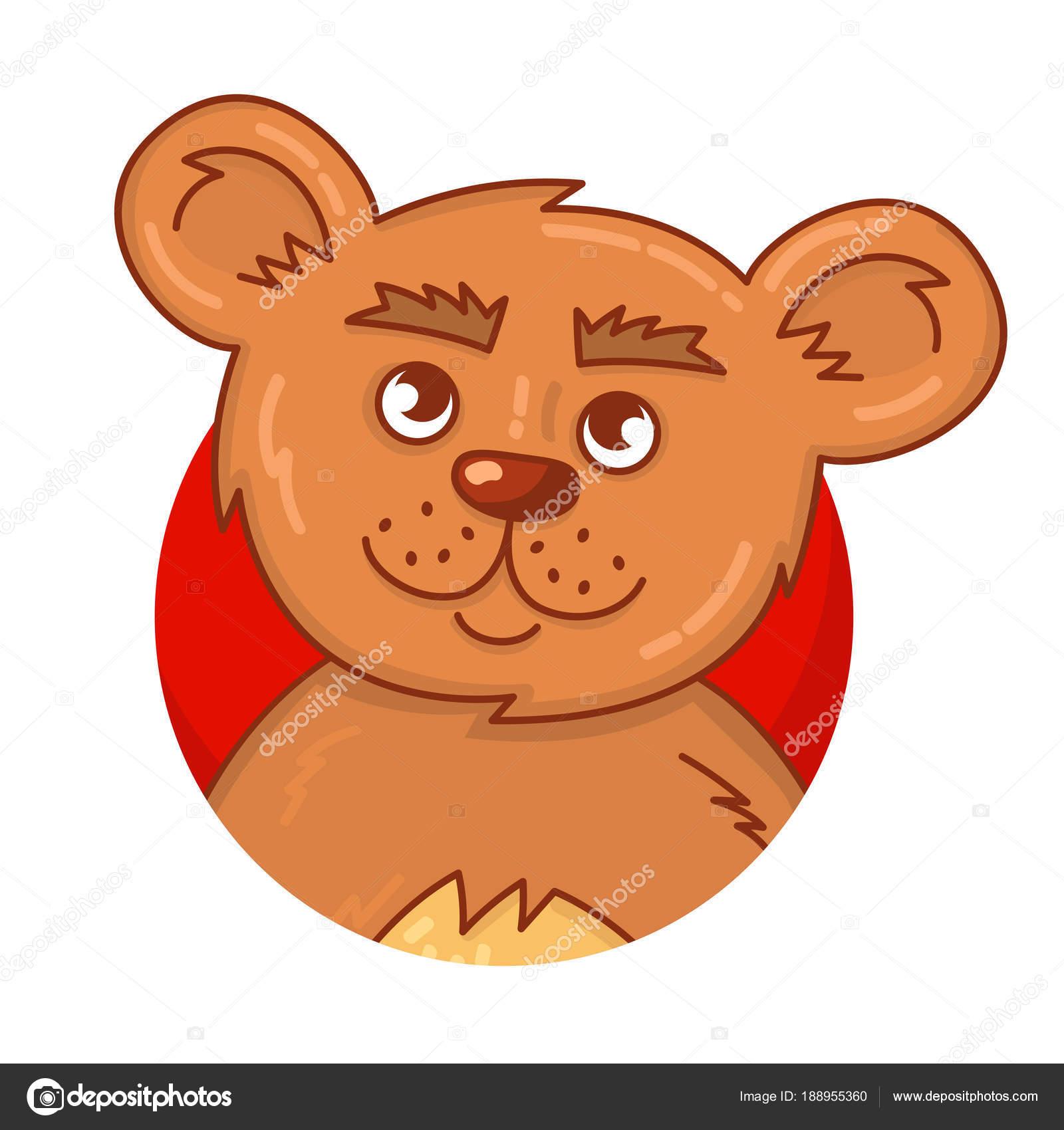 ilustração em vetor desenhos animados urso marrom bonito retrato