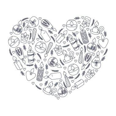 "Картина, постер, плакат, фотообои ""Candles doodle line icons heart shape vector design illustration"", артикул 353298452"