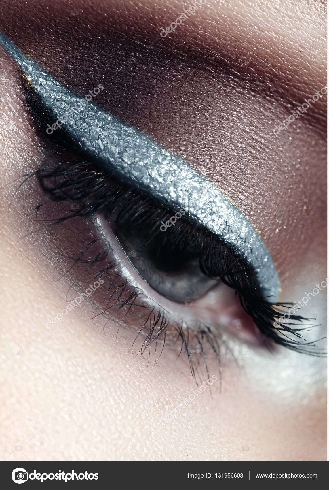117459ec34c Beautiful macro shot of female eye with ceremonial makeup. Perfect shape of  eyeliner and pretty blue ...