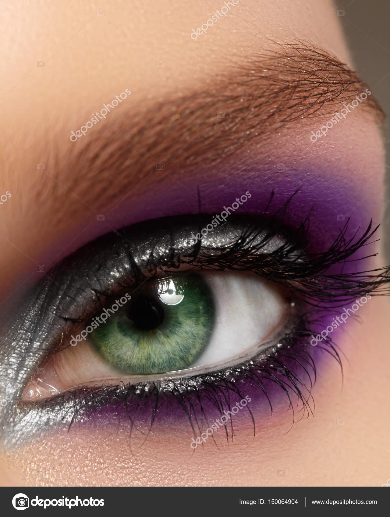 Makeup eye purple close up photo
