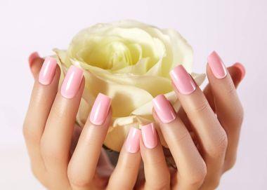 Manicured nails with pink nail polish. Manicure with nailpolish. Fashion art manicure, gel lacquer. Acrylic nails salon