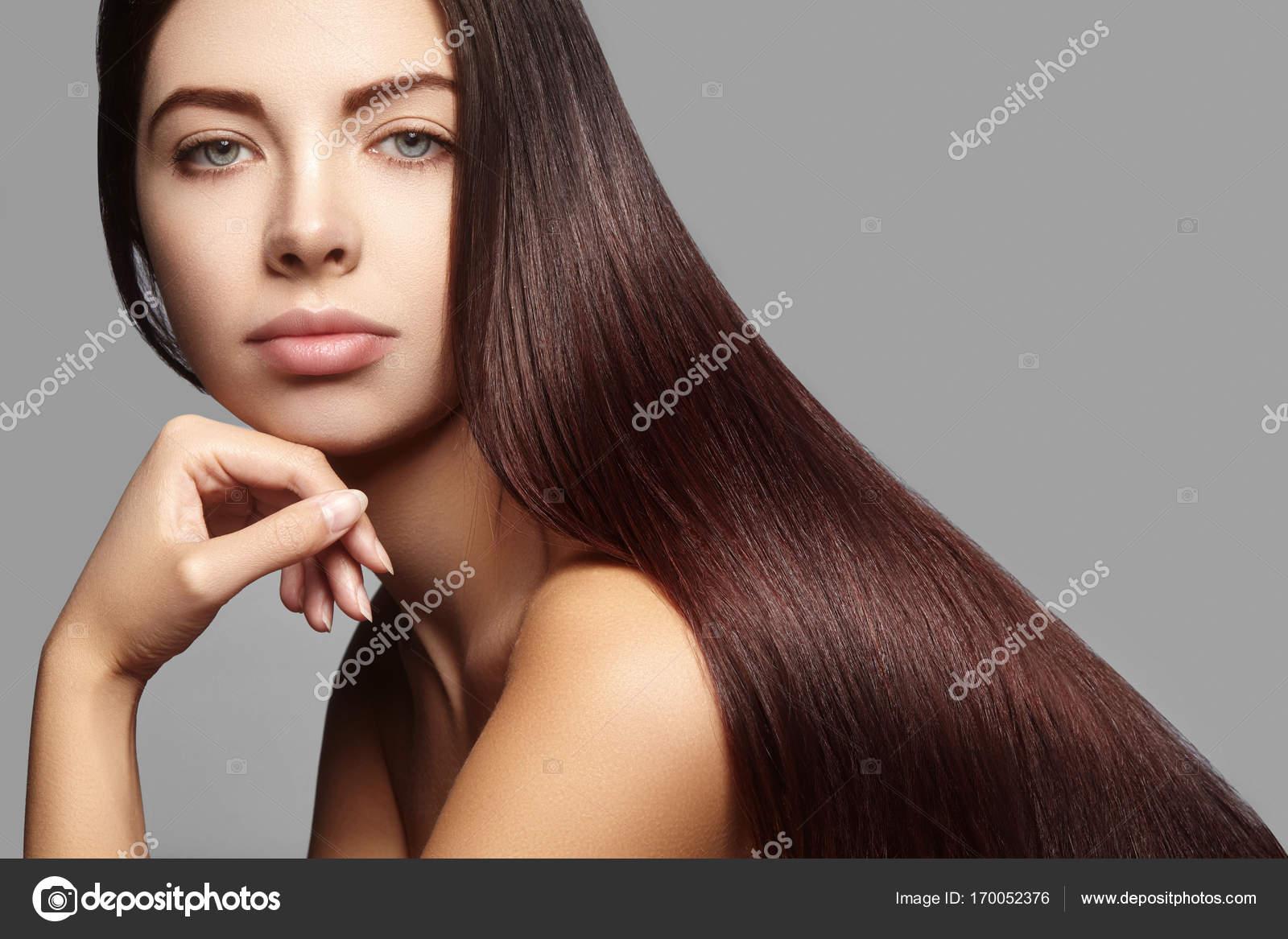 Yong Linda Mulher Com Cabelos Longos Lisos Marrom Modelo De