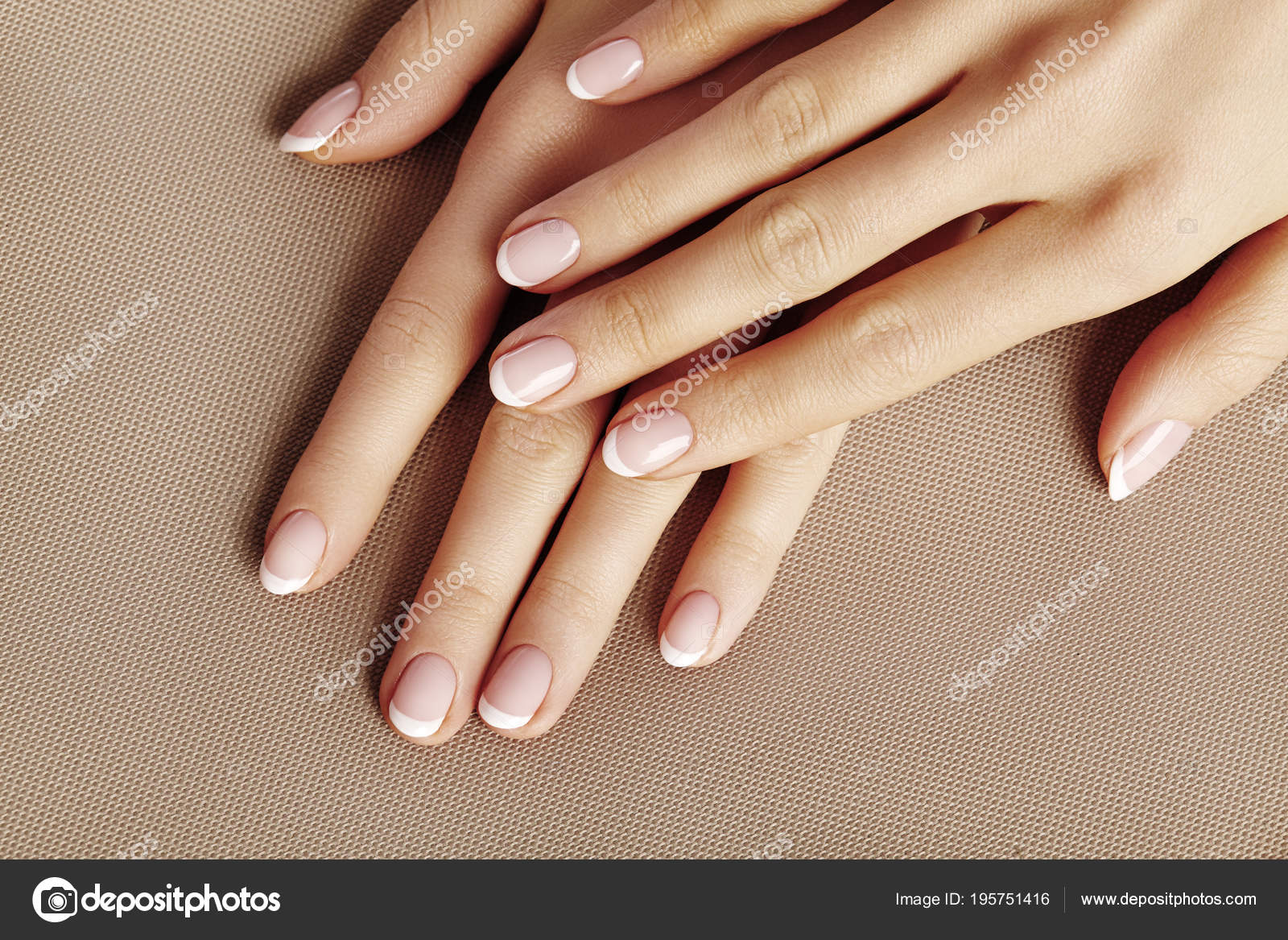 Young Female Palm. Beautiful Glamour Manicure. French Style. Nail ...