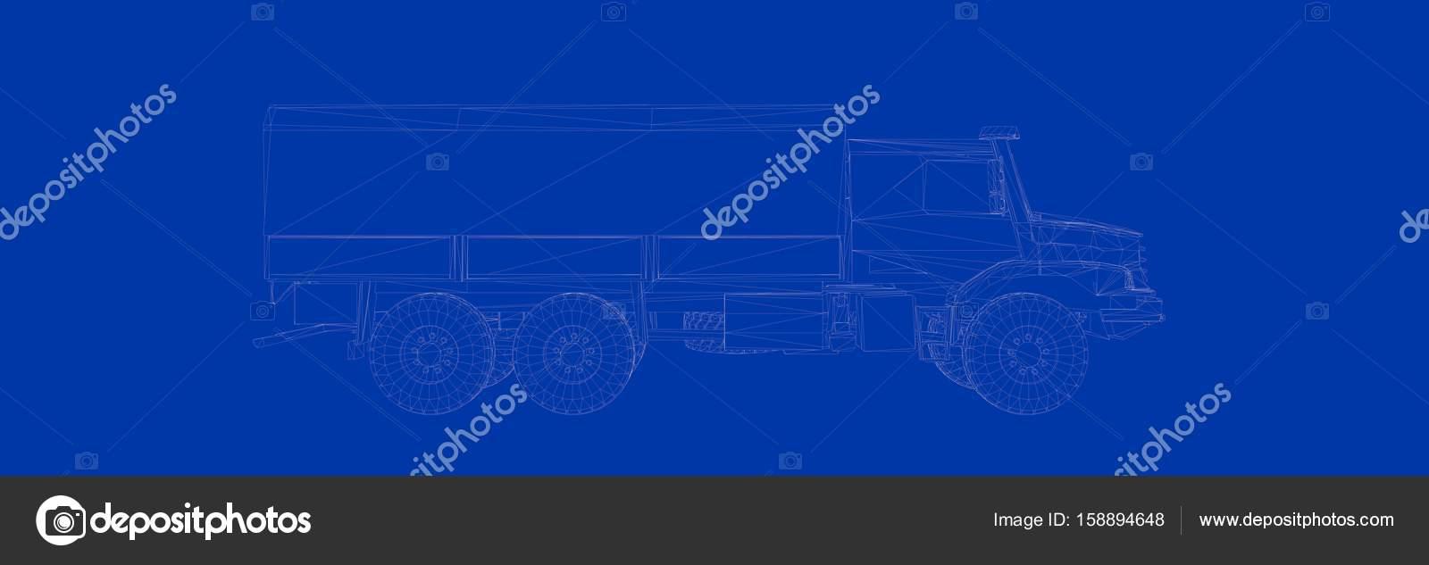 3D-Rendering eines LKW auf einem blauen Hintergrund Blaupause ...