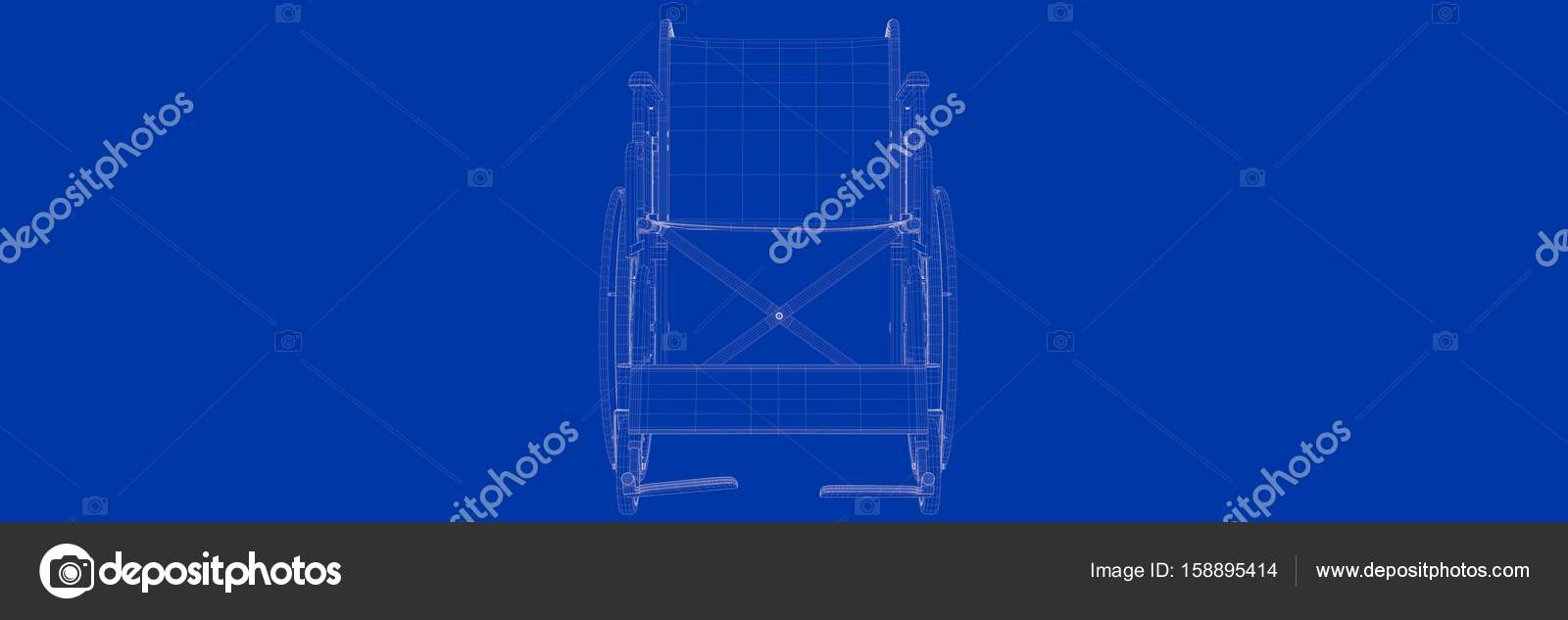 3d rendering of wheel chair on a blue background blueprint stock