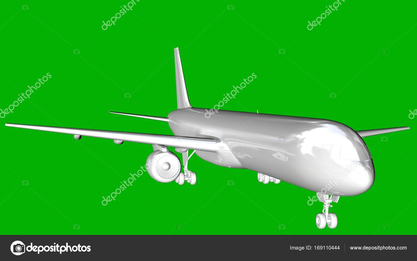 aislado blanco render 3d de un avión sobre un fondo verde — Fotos de ...