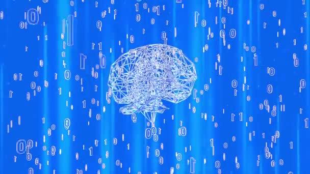 Digitální mozku animace smyčka s čísly a elektro
