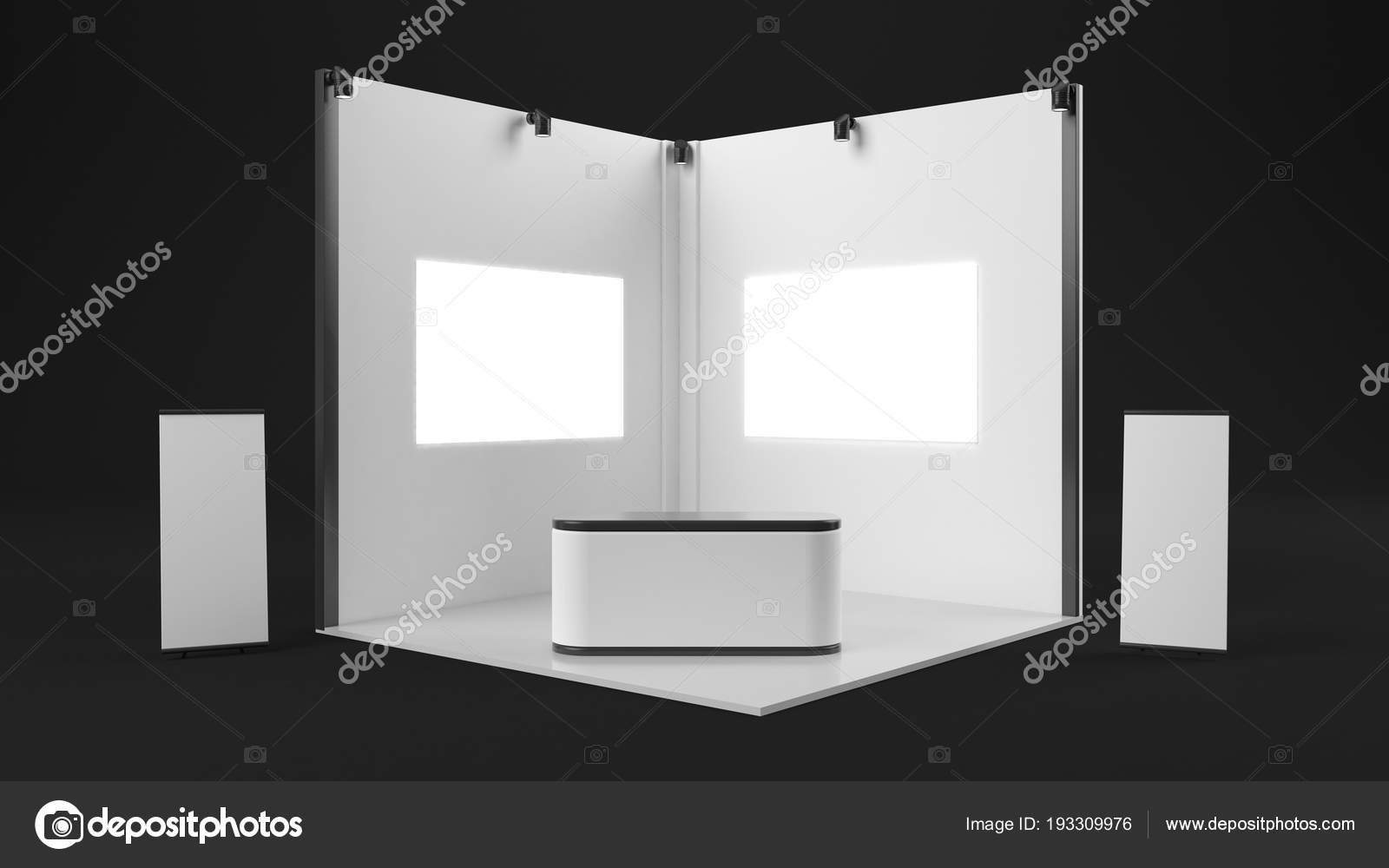 D Exhibition Stand Free Download : 3d rendering of a white exhibition stand with light for differen