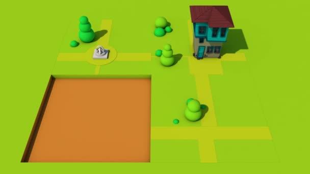 3D-Rendering eines perfekten Loop-Motion-Graphic-Cartoon-Puzzles mit einem Haus und Bäumen-Design