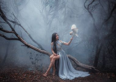 Forest sorceress with a bird