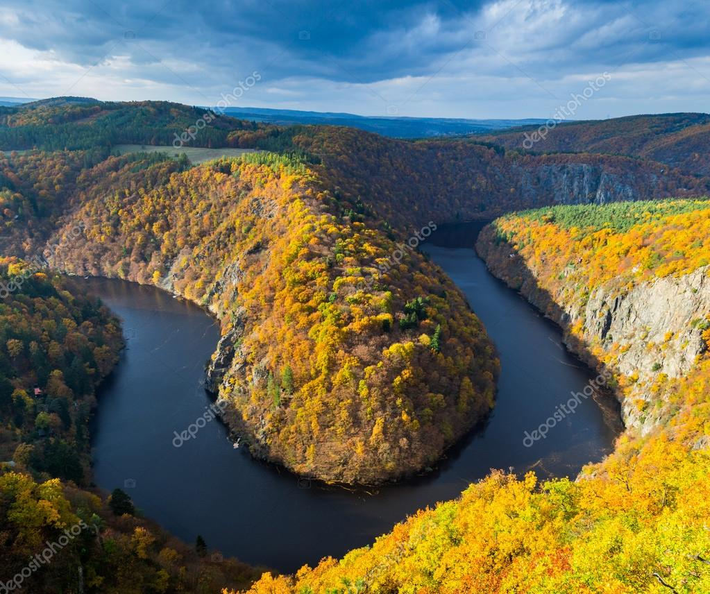 Horseshoe bend on Vltava river