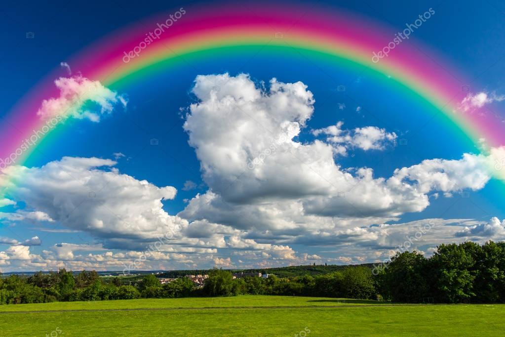 bright rainbow in sky