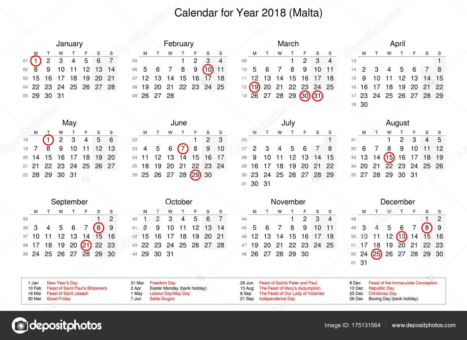 kalendar statnich svatku Kalendář státních svátků a svátků pro rok 2018 — Stock Fotografie  kalendar statnich svatku