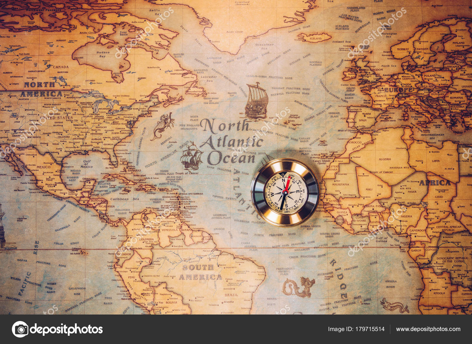 Columbus Day And World Map With Compass Stock Photo C Daliu 179715514