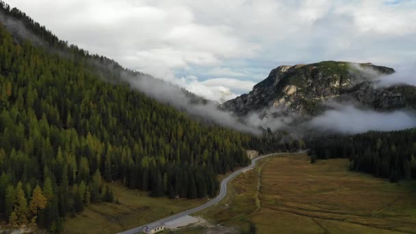 Aerial footage in autumn mountains. Italy, Dolomites. Aerial footage in autumn, Dolomites mountains. Beautiful autumn landscape in the Dolomites mountains, Italy.