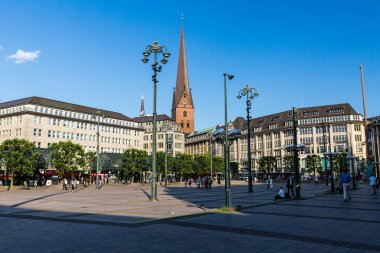 Exterior view of the Hauptkirche Sankt Petri in the city center  of Hamburg