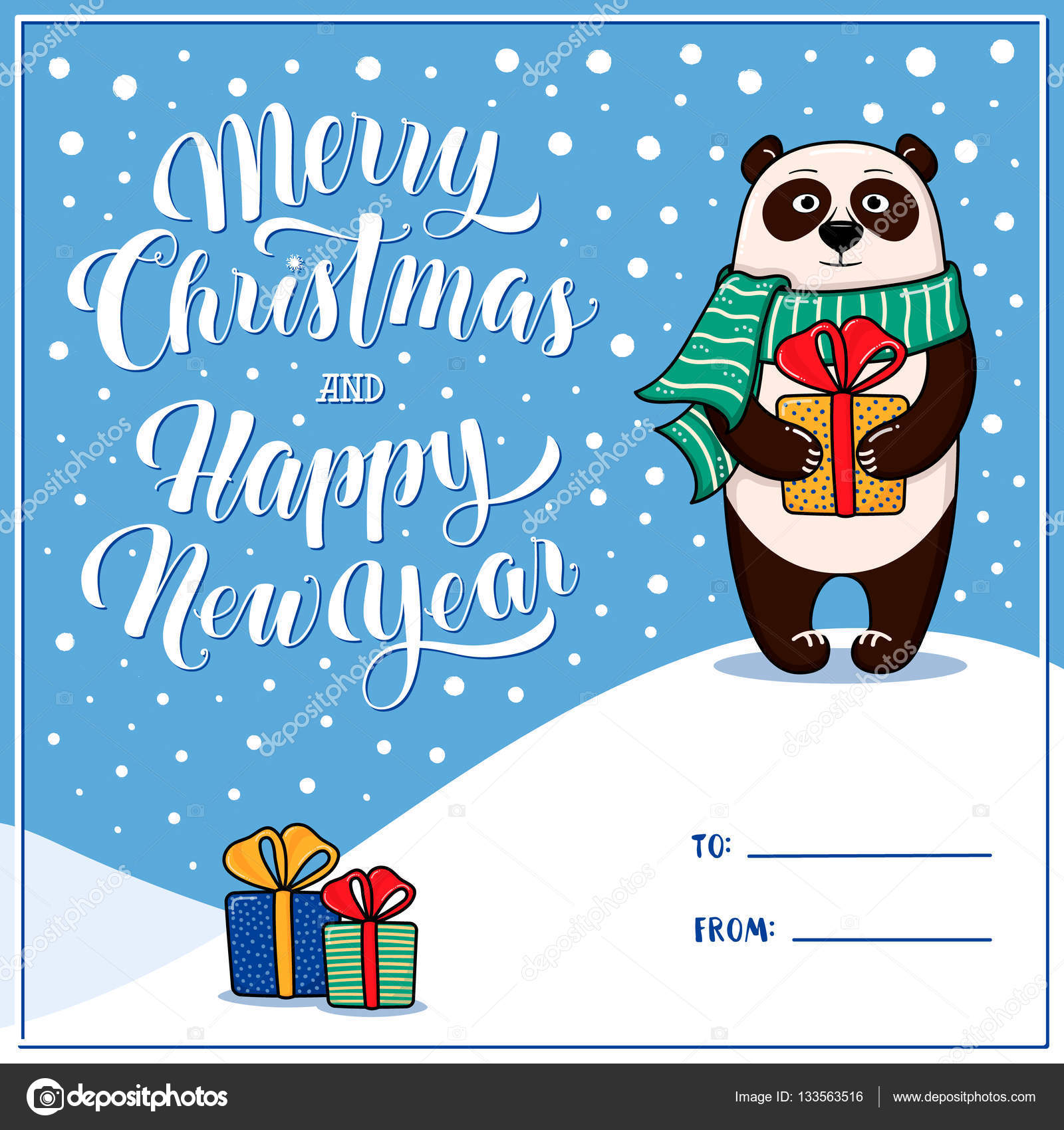 Merry Christmas And Happy New Year Greeting Card With Panda Stock
