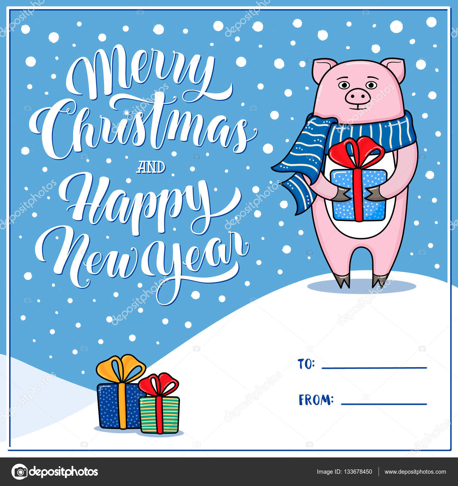 Merry Christmas And Happy New Year Greeting Card With Pig Stock
