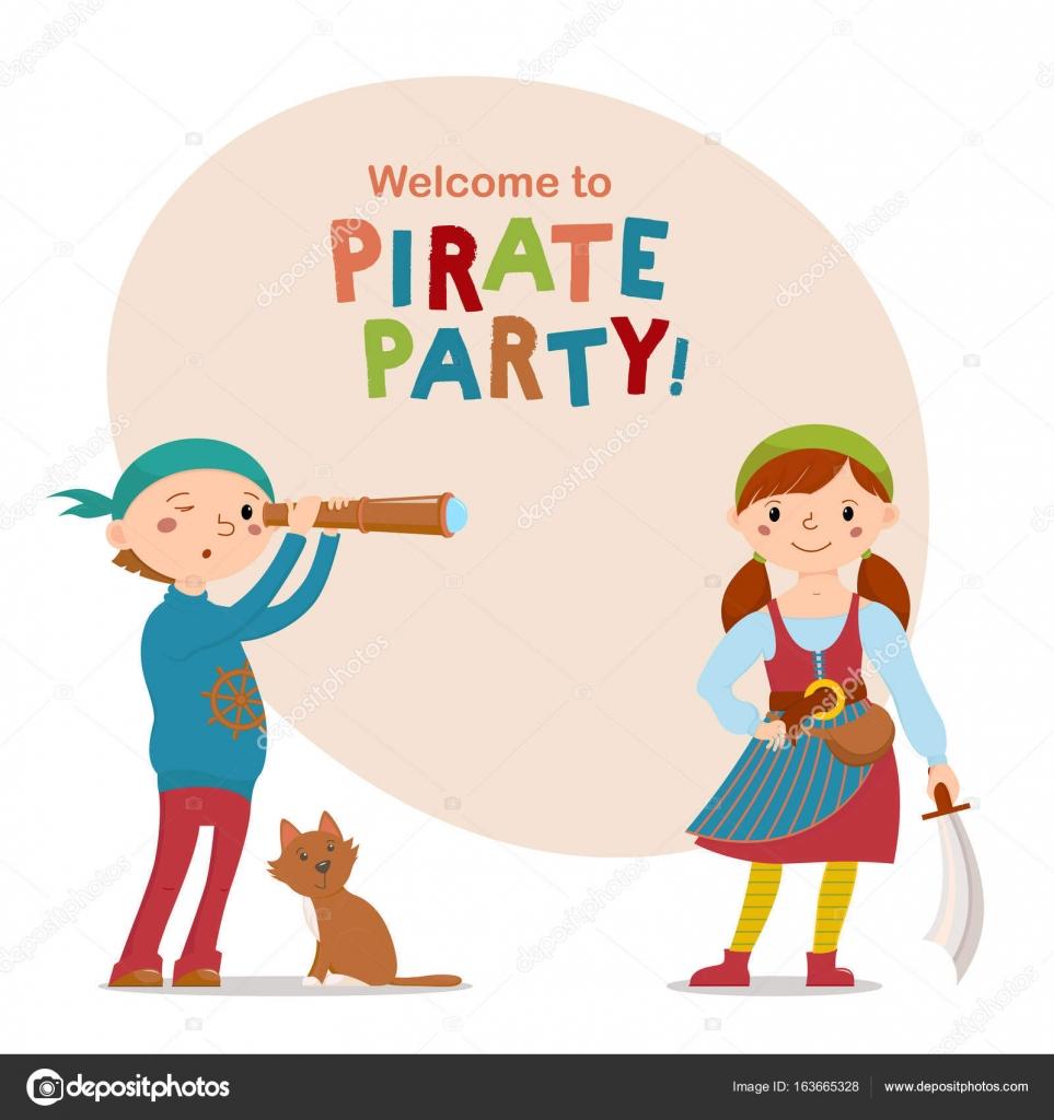 Kleine Jungen und Mädchen gekleidet als, spielen Piraten mit Platz ...
