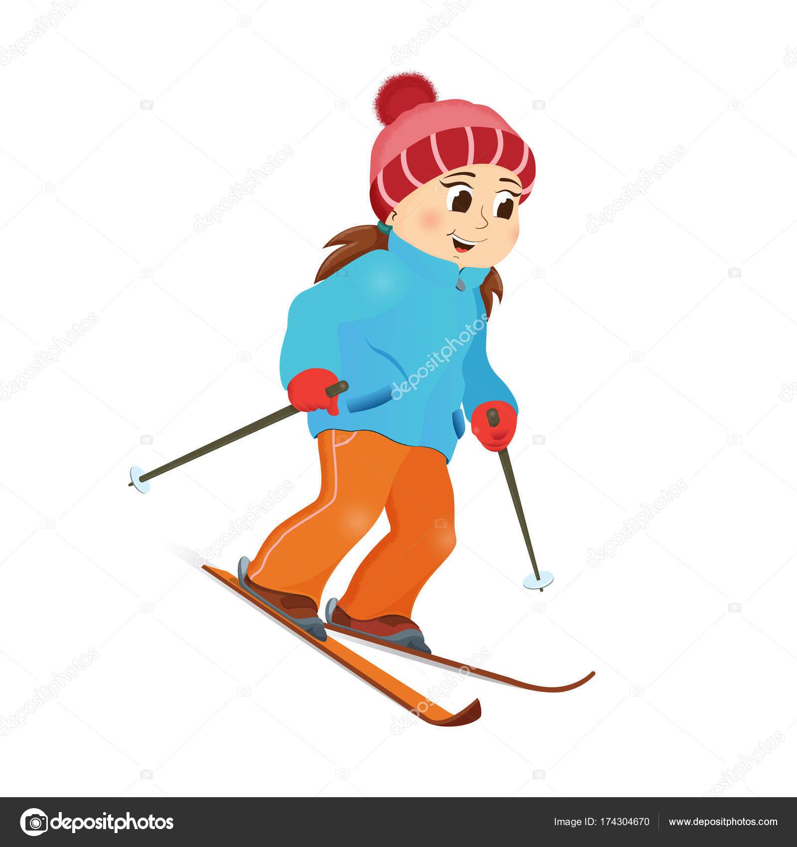 Fille heureuse dr le ski alpin sport d hiver image - Ski alpin dessin ...