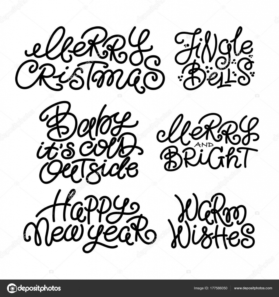 Set Of Typical Christmas New Year Winter Quotes Stock Vector
