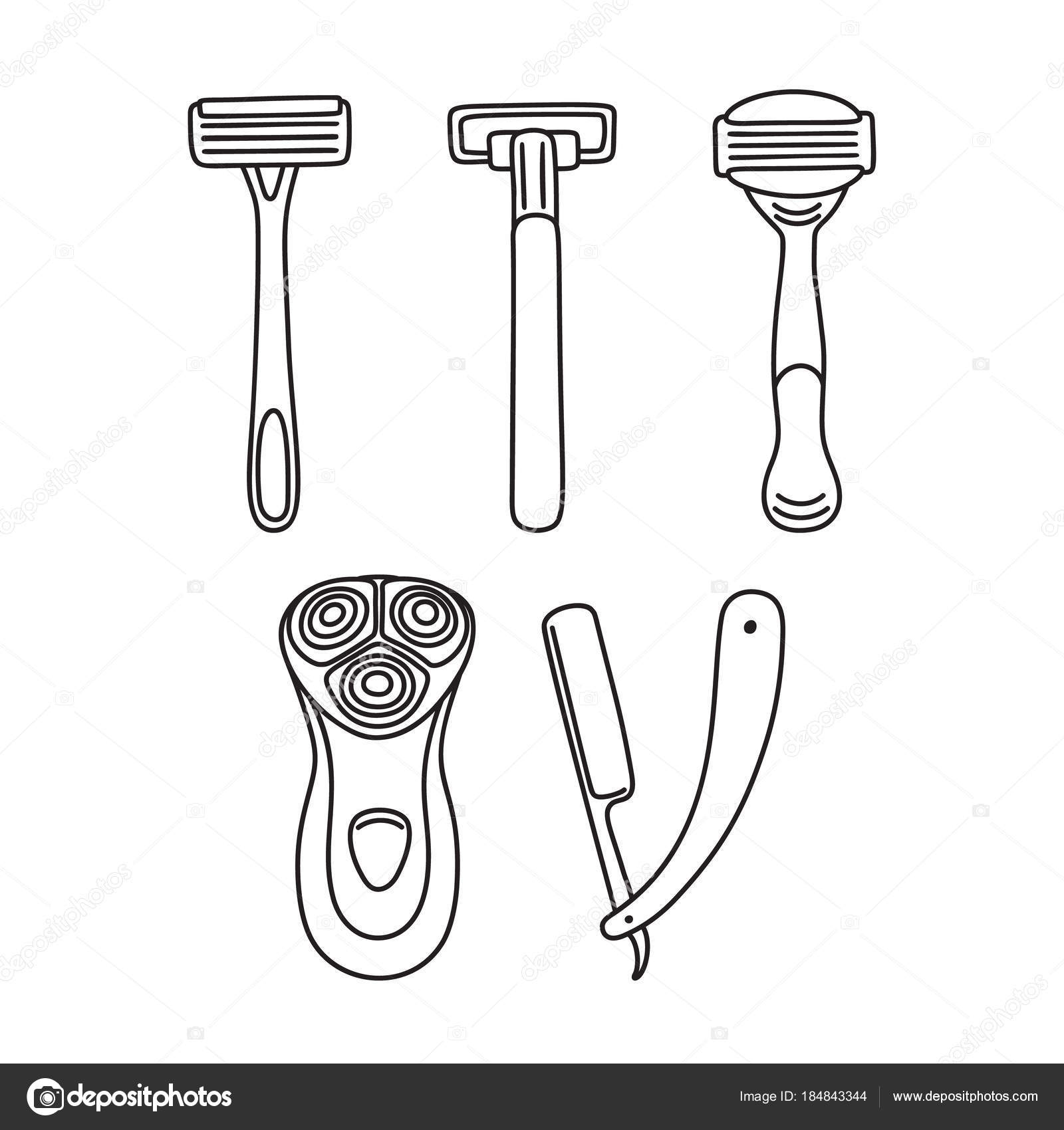 Festlegen der Rasiermesser - Einweg, offene Klinge, elektrische ...
