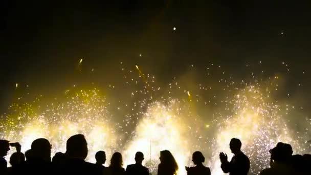 siluety lidí, na pozadí Novoroční ohňostroj