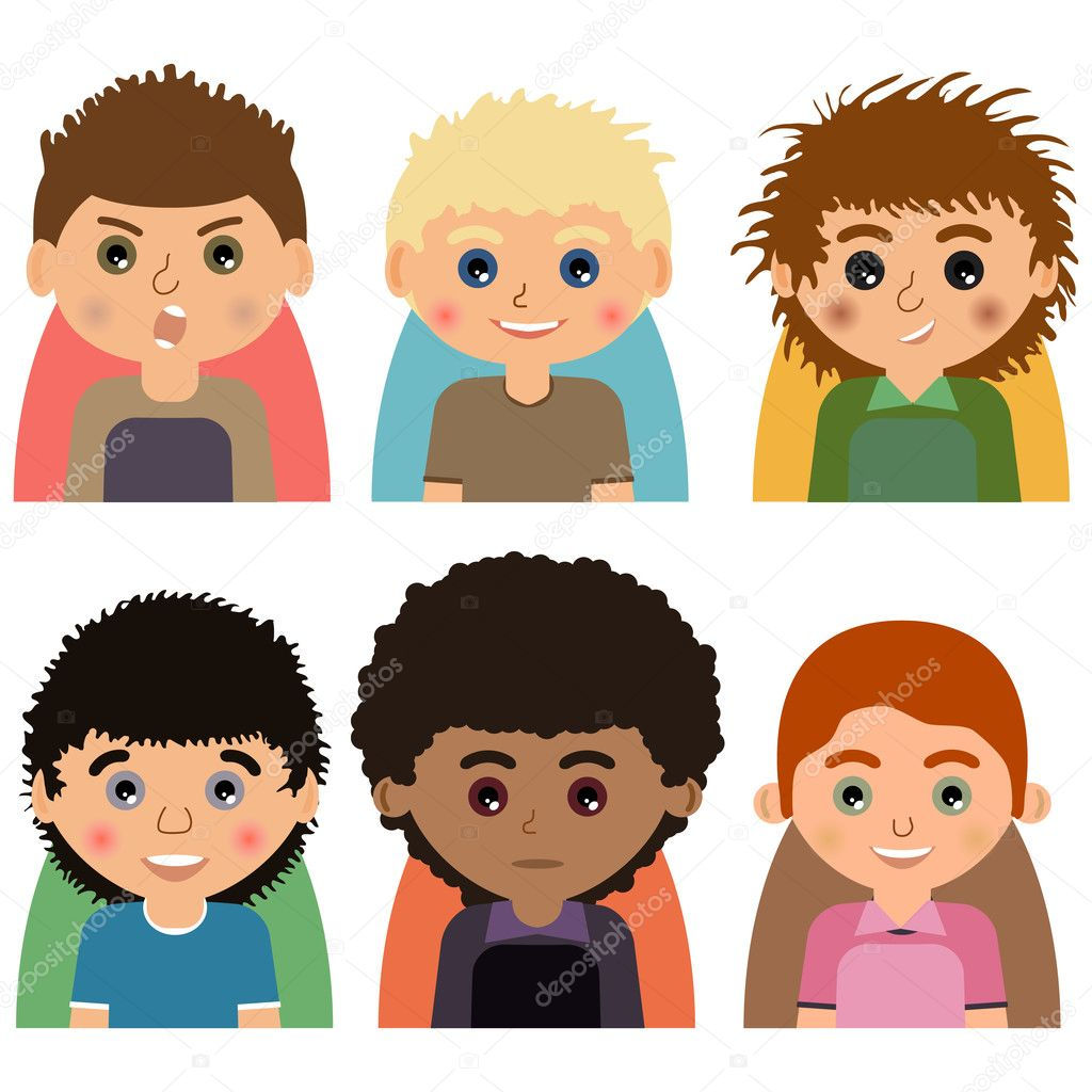 vector male man character faces avatars set of people icons with