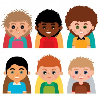 Vector man character avatars. Set of people icons  with faces.
