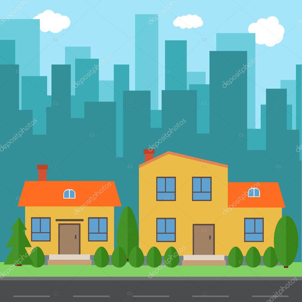 Cidade De Vetor Com Desenhos Animados De Casas E Edifícios