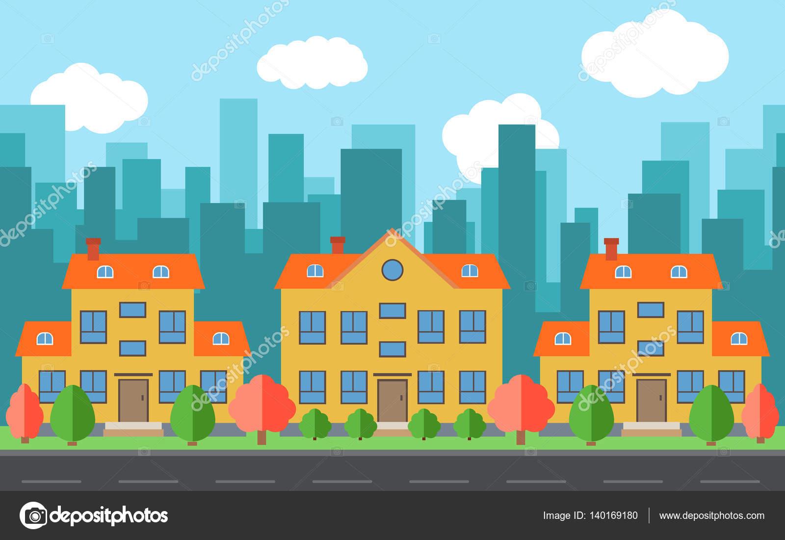 Imagenes De Edificios En Caricatura: Ciudad Vector De Dibujos Animados De Casas Y Edificios