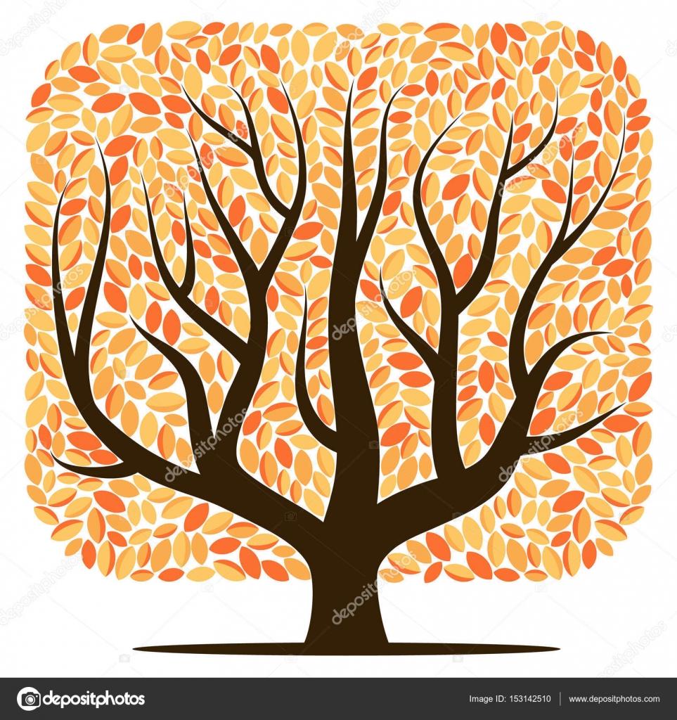 Árbol vector con hojas amarillas — Archivo Imágenes Vectoriales ...