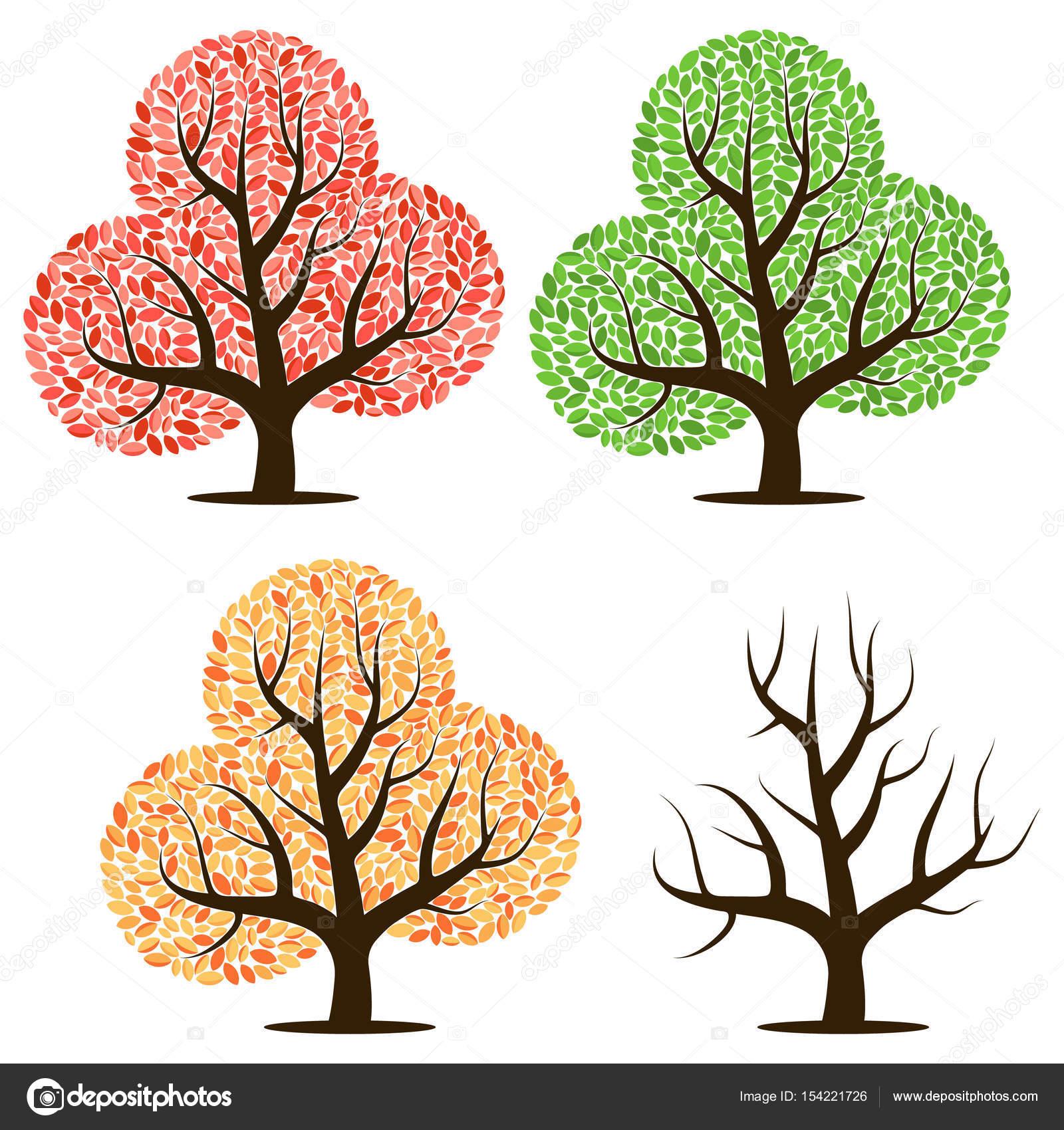Cuatro árboles con hojas verdes, rojas, amarillas y sin hojas ...