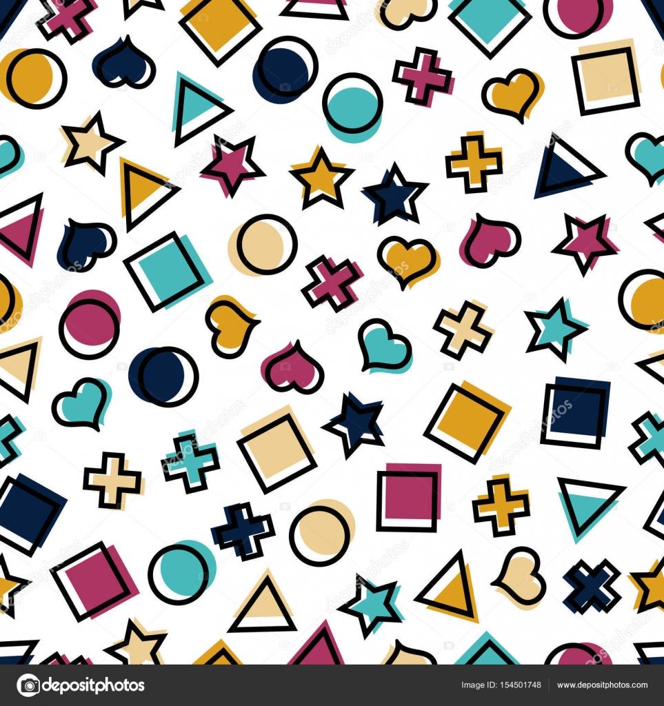 Sin fisuras patrón geométrico con cuadrados, triángulos, círculos ...