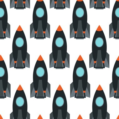 Seamless pattern with space rocket