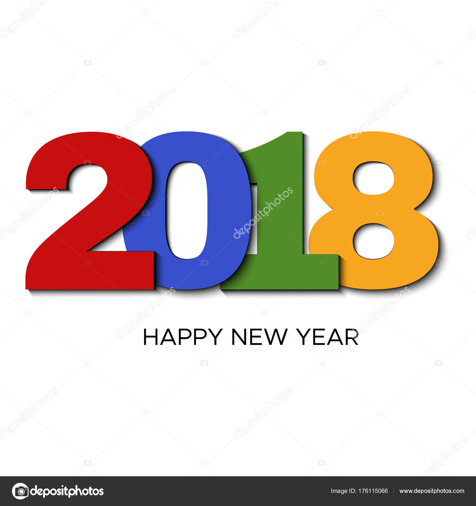 Happy new year 2018 colorful label on white background stock happy new year 2018 colorful label on white background stock vector voltagebd Images