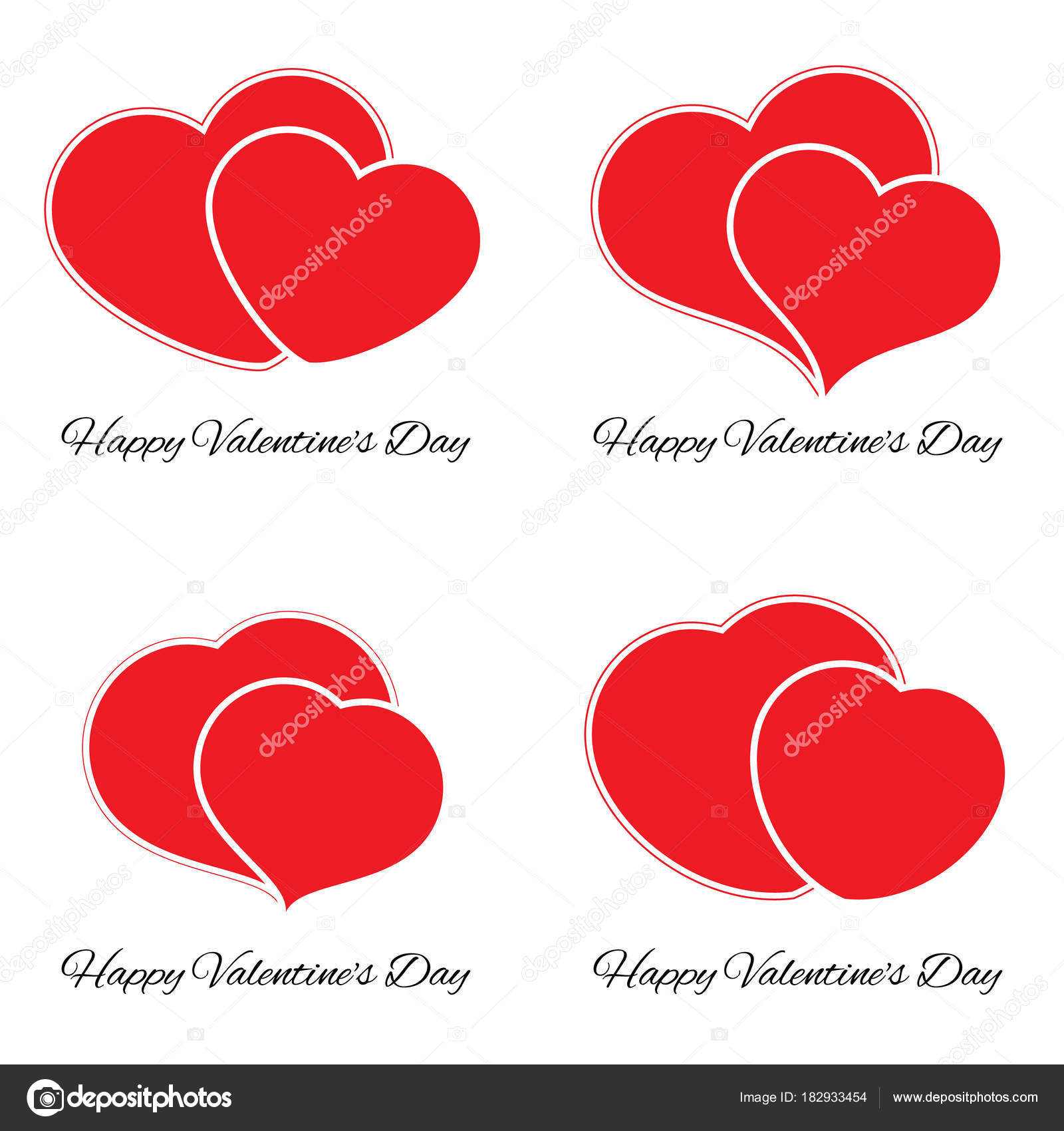 Set of four big and small red hearts romantic love symbol of set of four big and small red hearts romantic love symbol of valentine day buycottarizona Image collections
