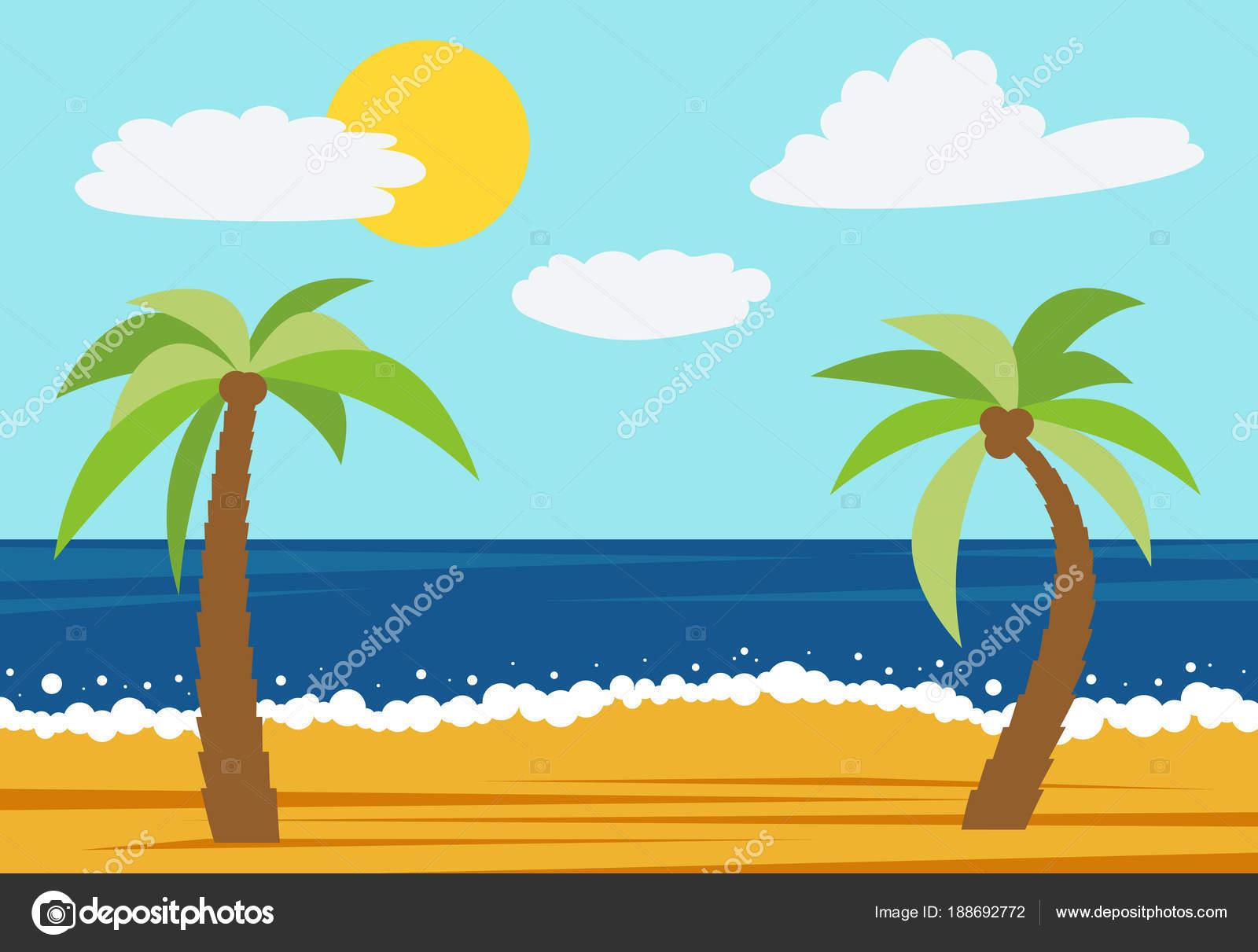 Dibujos Playas Y Palmeras Dibujos Animados Naturaleza Paisaje Con
