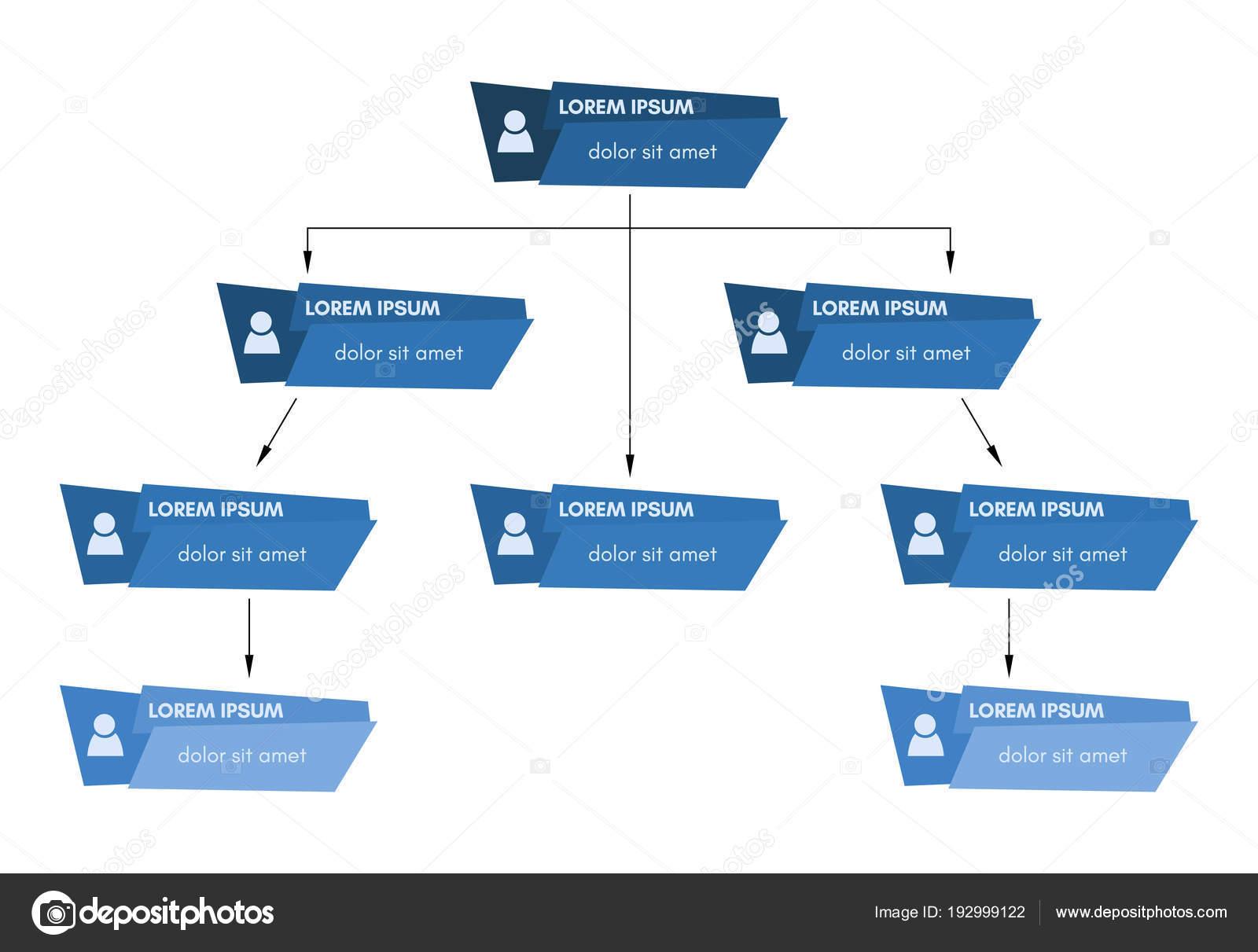 Blaue Struktur Geschäftskonzept, Unternehmensorganisation Diagramm ...