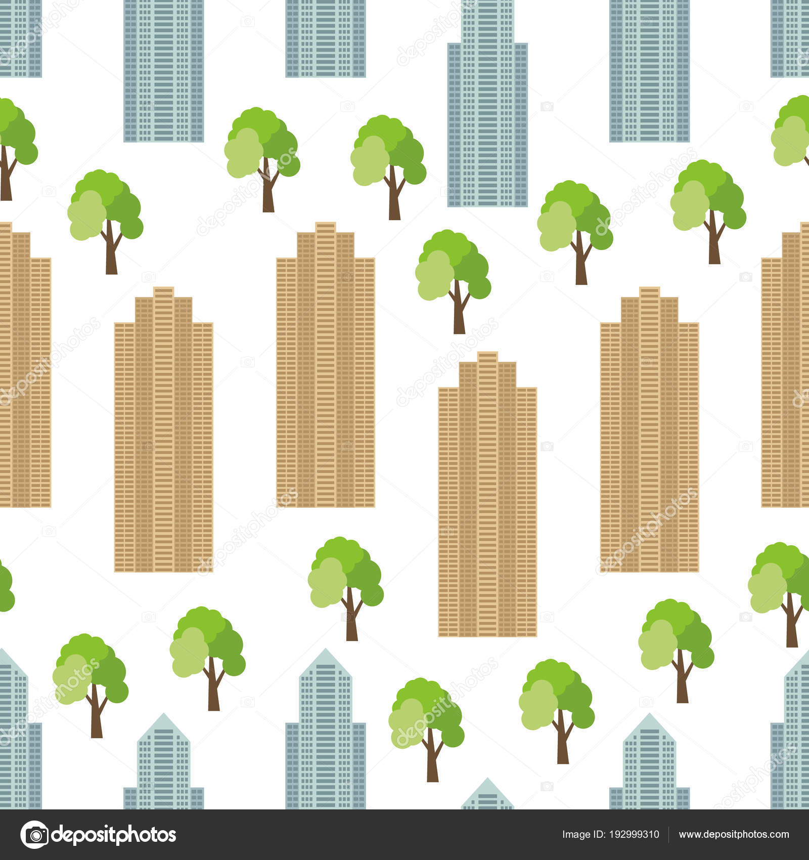Nahtlose Stadt Hintergrund mit modernen Häusern und grünen Bäumen ...