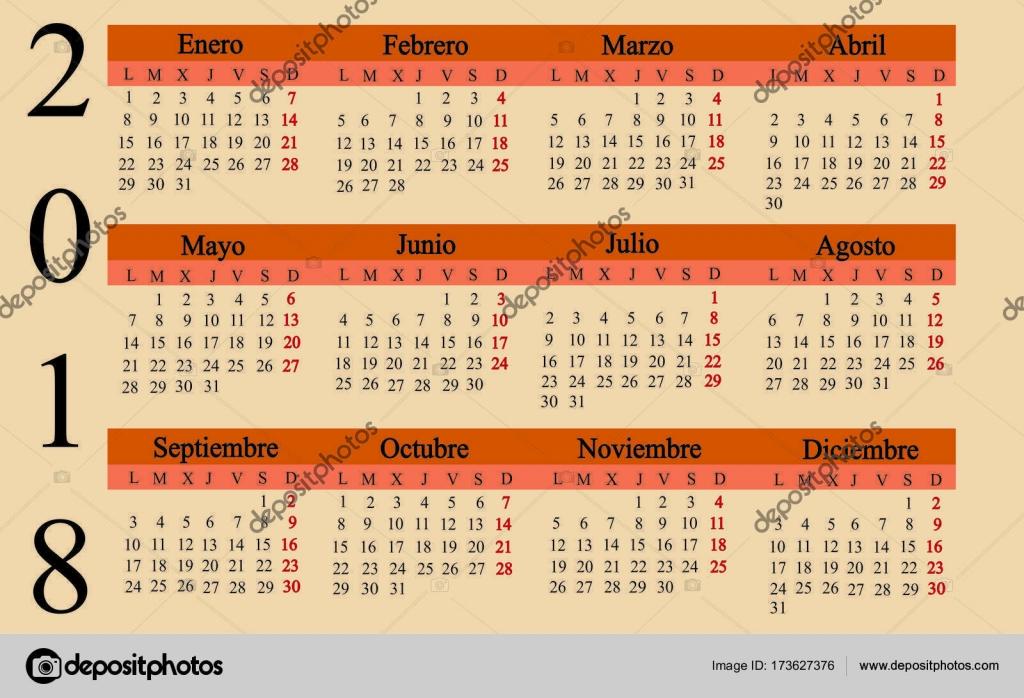 Español calendario 2018. Anuario — Vector de stock © sanrgo.gmail ...
