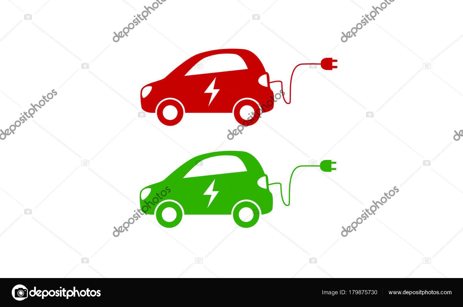 Hybrid-Fahrzeug-Symbol. Elektro-Auto mit elektrischen Ladekabel ...