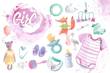 illustration of baby products