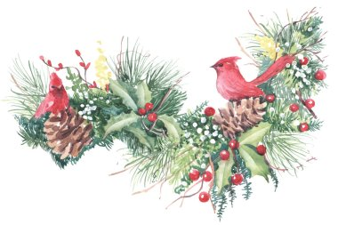 winter watercolor illustration of holidays