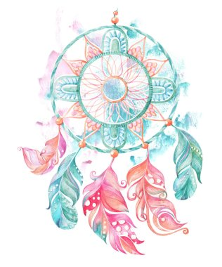 Watercolor dream catcher with feathers